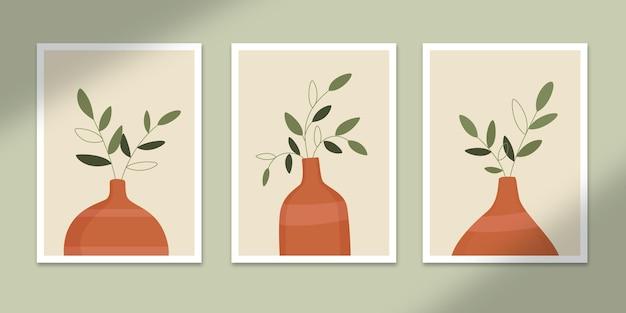 Botânico abstrato pôsteres arte formas desenhadas à mão cobre conjunto de coleção para decoração de impressão de parede