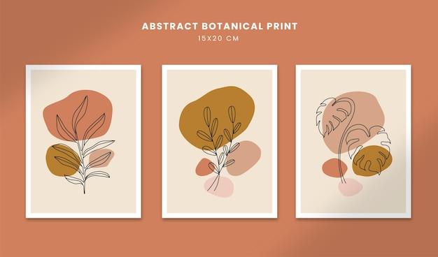 Botânico abstrato pôsteres arte mão desenhada formas capas com flor de boho