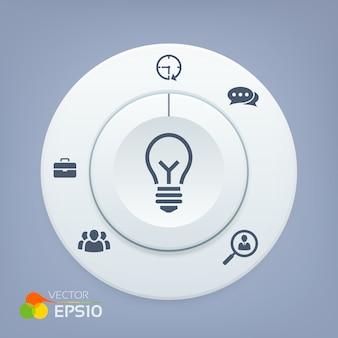 Botão 3d com ícones de negócios