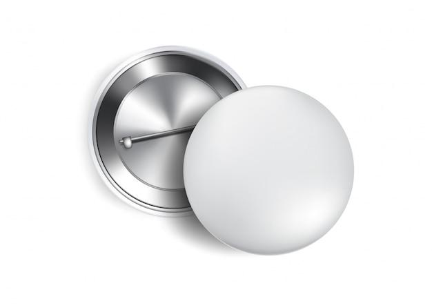 Botão 3d pin maquete de lembrança realista.