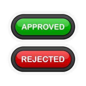 Botão 3d realista verde ou vermelho aprovado ou rejeitado isolado no fundo branco. mão clicada. ilustração vetorial.