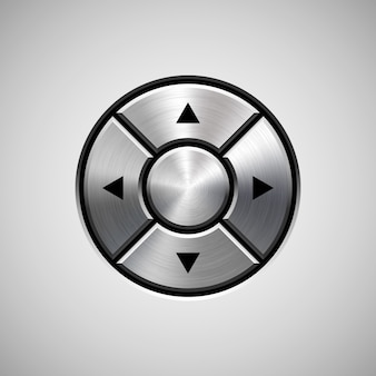 Botão abstrato joystick com textura de metal