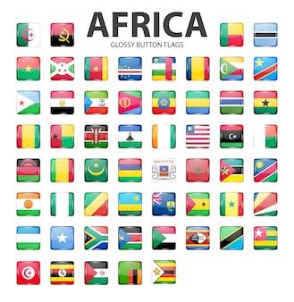 Botão brilhante bandeiras áfrica cores originais