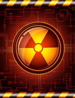 Botão brilhante com o sinal de radiação