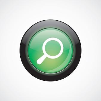 Botão brilhante do ícone de sinal de vidro de pesquisa verde. botão do site da interface do usuário