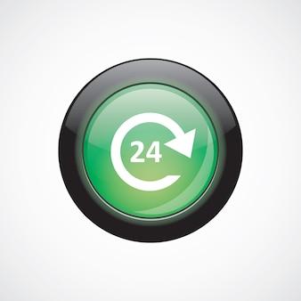 Botão brilhante do ícone de sinal de vidro de serviço 24 horas. botão do site da interface do usuário