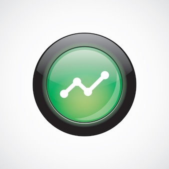 Botão brilhante do ícone de sinal de vidro do diagrama verde. botão do site da interface do usuário