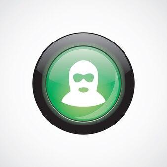 Botão brilhante do ícone de sinal de vidro ofensor verde. botão do site da interface do usuário