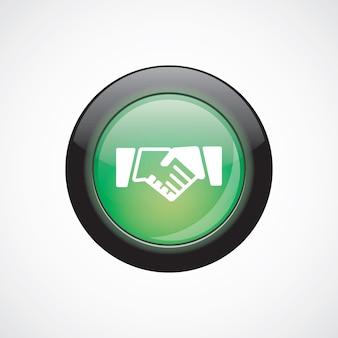 Botão brilhante do ícone verde de sinal de vidro de aperto de mão. botão do site da interface do usuário