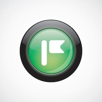 Botão brilhante do ícone verde do sinal de vidro da bandeira. botão do site da interface do usuário