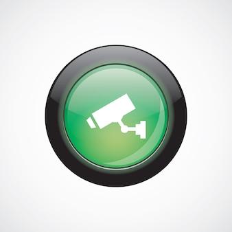 Botão brilhante do ícone verde do sinal de vidro da câmera de segurança. botão do site da interface do usuário