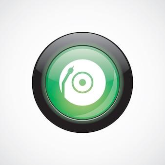Botão brilhante do ícone verde do sinal de vidro da plataforma giratória de vinil. botão do site da interface do usuário