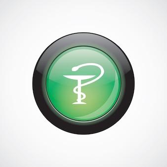 Botão brilhante do ícone verde do sinal de vidro médico. botão do site da interface do usuário