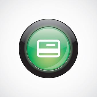 Botão brilhante do ícone verde do sinal do vidro do cartão de crédito. botão do site da interface do usuário