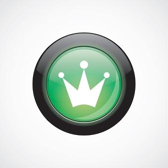 Botão brilhante do ícone verde do vidro da coroa. botão do site da interface do usuário