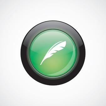 Botão brilhante ícone verde de sinal de pena. botão do site da interface do usuário