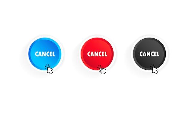 Botão cancelar com cursor. vetor em fundo branco isolado. eps 10.