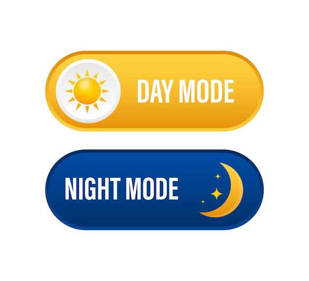 Botão com modo noturno em fundo escuro. design de interface do usuário. tema escuro. conceito de design de interface do aplicativo. ilustração em vetor das ações.