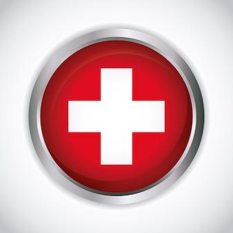 Botão com o ícone de bandeira suíça