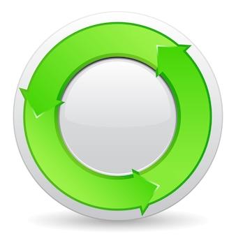 Botão com setas verdes