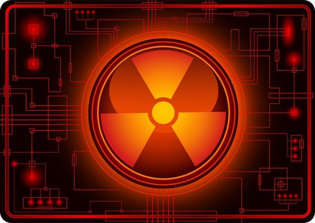 Botão com sinal nuclear
