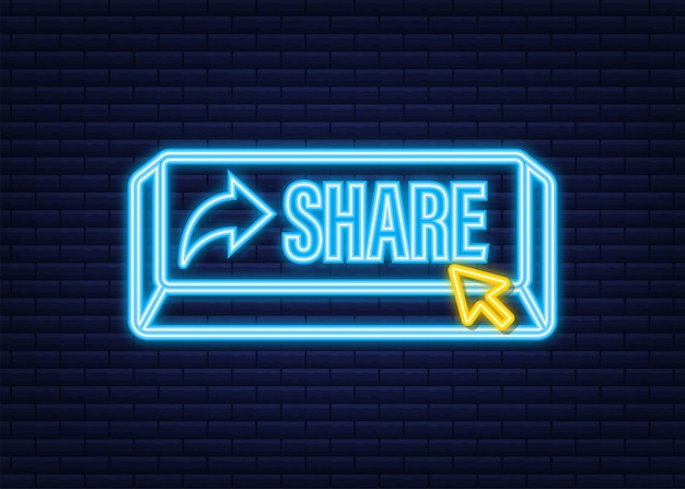 Botão compartilhar em estilo simples sobre fundo azul. ícone de néon. mídia social. ilustração em vetor das ações.