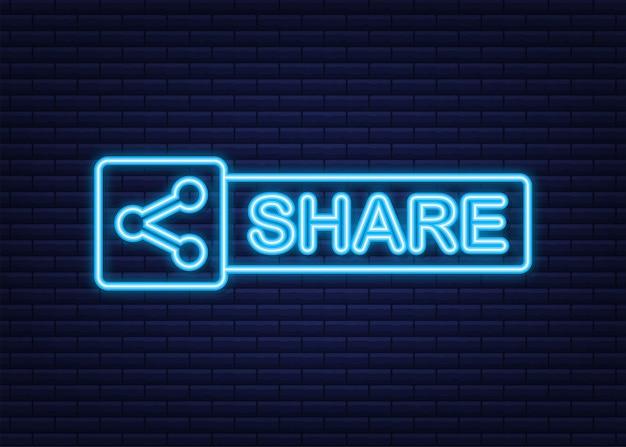 Botão compartilhar no estilo neon sobre fundo azul. mídia social. ilustração em vetor das ações.