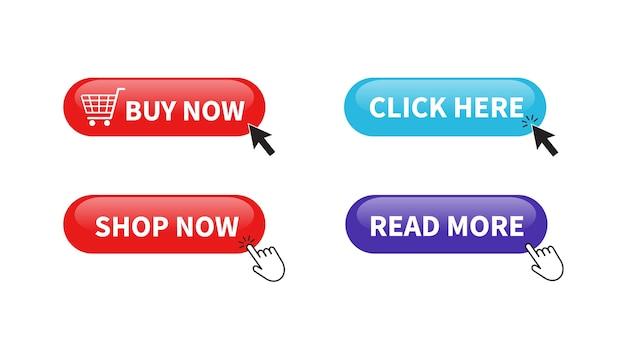 Botão comprar agora. compre agora, leia mais, clique aqui botões.