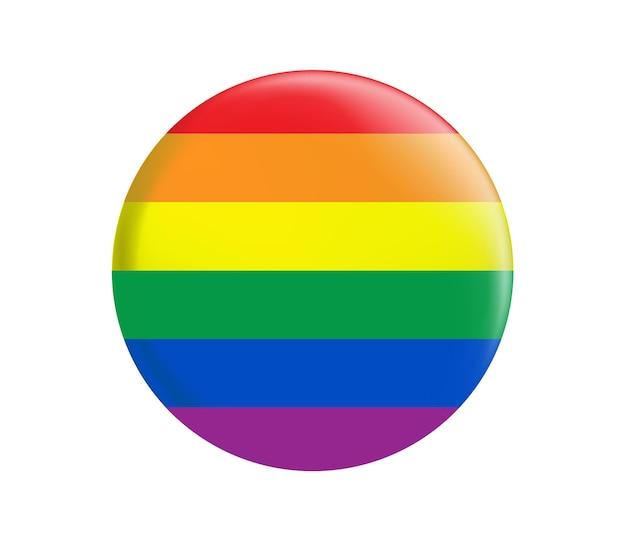 Botão da bandeira do orgulho lgbt bandeira do arco-íris redondo