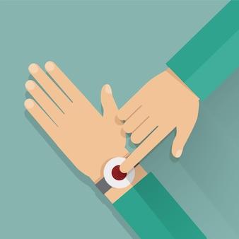 Botão de alerta no pulso.