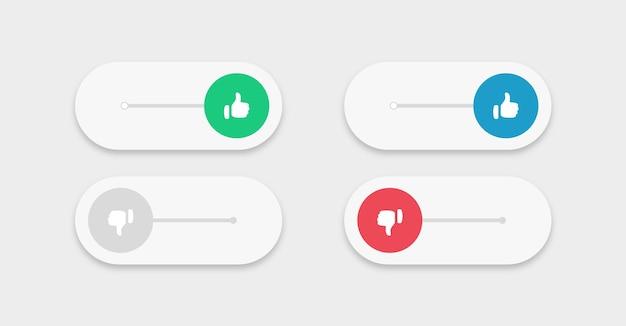 Botão de alternância com o ícone de gosto de não gostar ou símbolos de polegar para cima