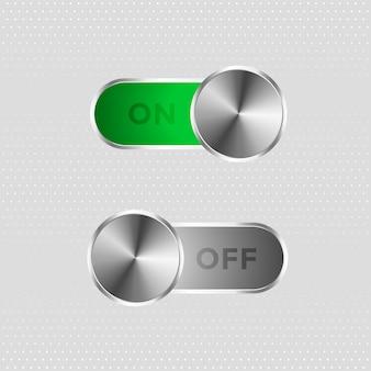 Botão de alternância de metal ligado e desligado
