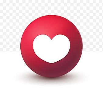 Botão de amor emoticon do facebook 3d em fundo transparente