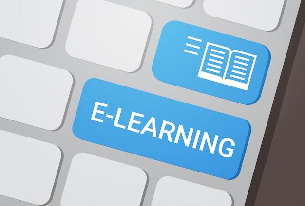 Botão de aprendizagem no conceito de educação on-line de teclado de laptop