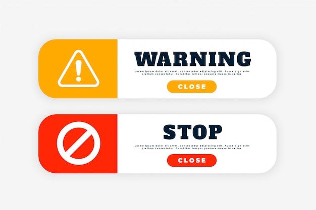 Botão de aviso e sinal de parada para fins da web