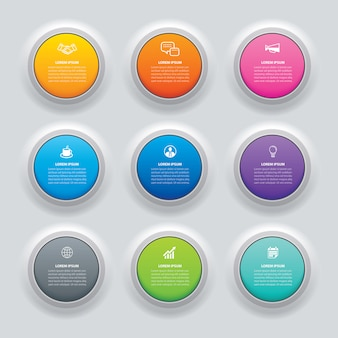 Botão de círculo de infográficos com modelo de 9 dados.