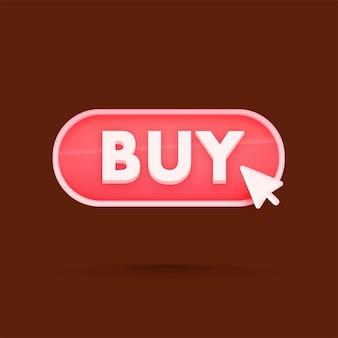 Botão de compra vermelho de renderização 3d em marrom