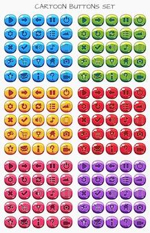 Botão de desenho animado conjunto jogo pack, elemento gui para jogo móvel
