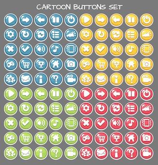 Botão de desenho animado conjunto jogo pack, elemento gui
