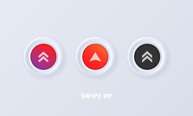 Botão de deslizar para cima em estilo 3d. conjunto de ícones de mídia social. deslize para cima o sinal, o distintivo em estilo simples. logotipo da seta para cima.