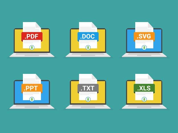 Botão de download de arquivos na tela do laptop baixando arquivo de conceito de documento com etiqueta e sinal de seta para baixo