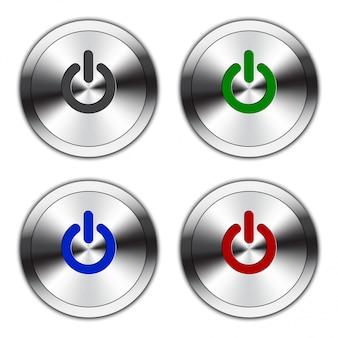 Botão de energia metálica