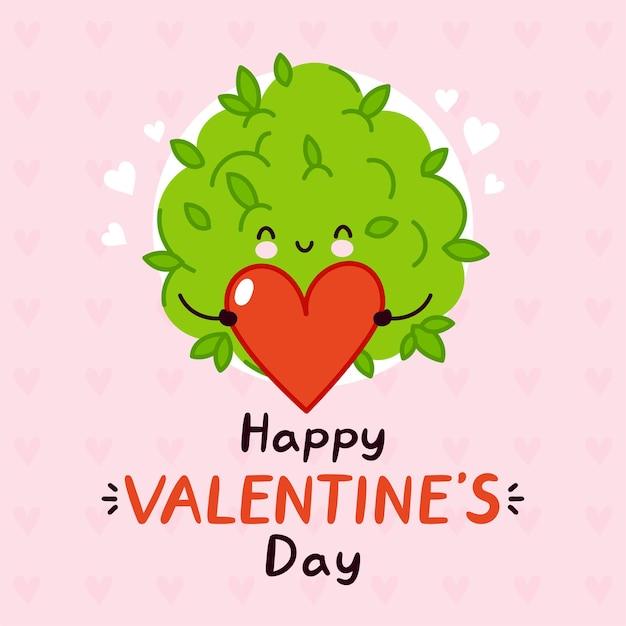 Botão de erva daninha de maconha engraçado bonito segurando o coração. feliz dia dos namorados cartão.