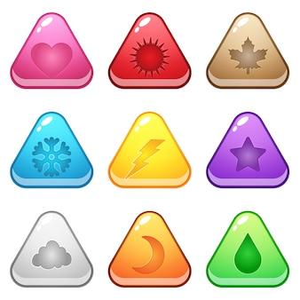 Botão de forma triângulo bonito representa vários símbolos da temporada.