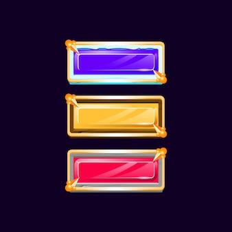 Botão de gelo de pedra de madeira gui de diamante colorido com borda dourada medieval para elementos de ativos de interface do usuário do jogo