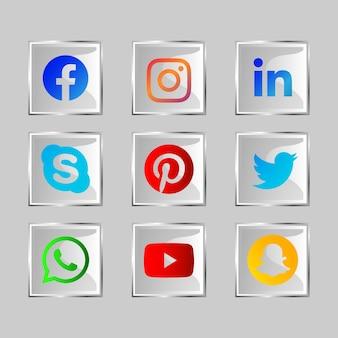 Botão de ícone de mídia social brilhante com efeito de vidro