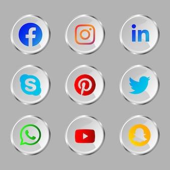 Botão de ícone de mídia social brilhante com efeito de vidro Vetor Premium