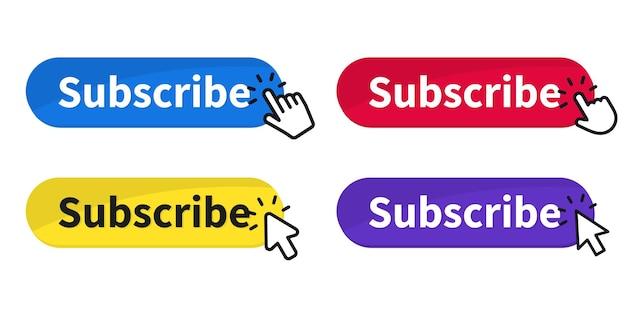 Botão de inscrição com cursor. botões gostar, comentar e não gostar. blogging, promoção, assinatura de canal, blog. inscreva-se no canal. notificação de streaming de vídeo ao vivo ou ícone de sino de mensagem