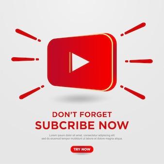 Botão de inscrição com plano de fundo do youtube