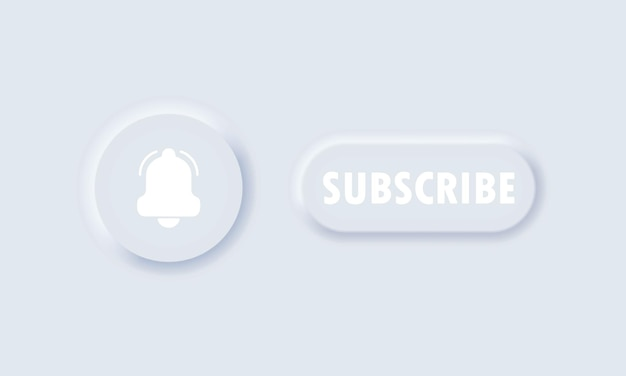 Botão de inscrição. conceito de mídia social. sinal de notificação. seguindo por canal. estilo de neumorfismo.